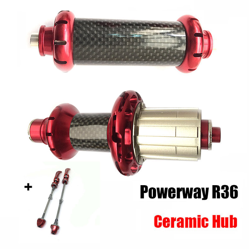 Ultralight Carbon Road Bike Straight Pull Powerway R36 Ceramic Bearing Hub Aluminum for SHIMAN0 or Campy 11S,20/24H quantum s top road hub ql z52f rear hub ql z91r