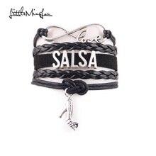 Little MingLou Infinity love Salsa Bracelet high heels Charm leather wrap bracelets & bangles for Women men dance hobby jewelry