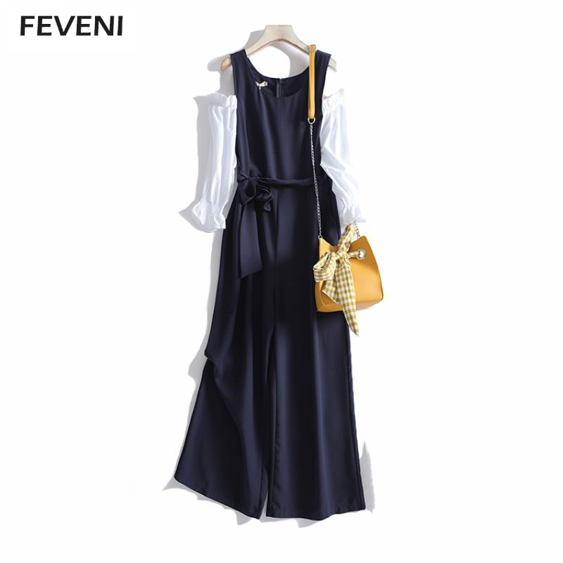Women Spring Autumn Jumpsuit O Neck Off Shoulder Slim Fitting Fashion Jumpsuits Sweet Bow Tie Belt