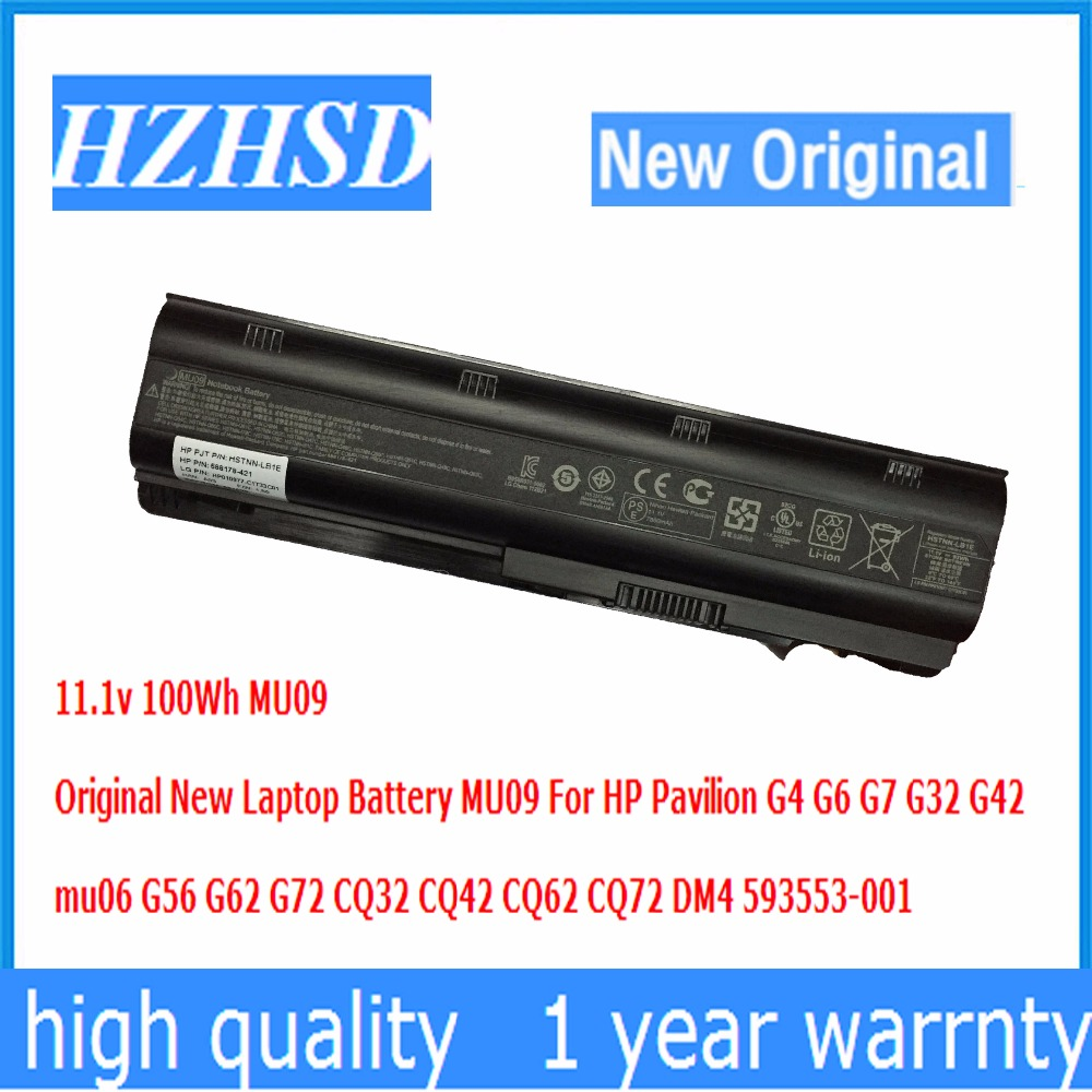 11.1v 100Wh MU09 Original New Laptop Battery For HP Pavilion G4 G6 G7 G32 G42 mu06 G56 G62 G72 CQ32 CQ42 CQ62 CQ72 DM4 100wh original new laptop battery mu09 for hp pavilion g4 g6 g7 g32 g42 mu06 g56 g62 g72 cq32 cq42 cq62 cq72 dm4 593553 001