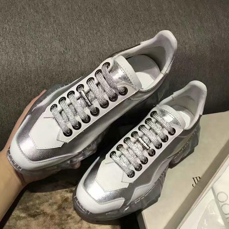 سيلا الحكام 2019 جديد السيدات كريستال بلينغ شفافة سميكة سوليد حذاء كاجوال جولة اصبع القدم الدانتيل يصل جلد طبيعي النساء الأحذية-في أحذية مطاطية نسائية من أحذية على  مجموعة 3