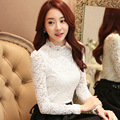 Autumn Spring Lady Lace Black Blouses Plus Size S-3XL Long Sleeve OL Style Embroidery Fashion Women Casual Shirts