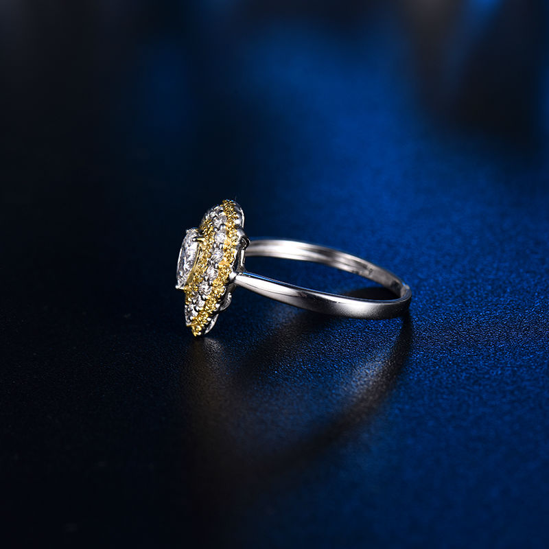 Luxury Design Promised Jewelry Solid 14Kt White Gold Natural Real Pear cut Diamond Wedding Womens Ring