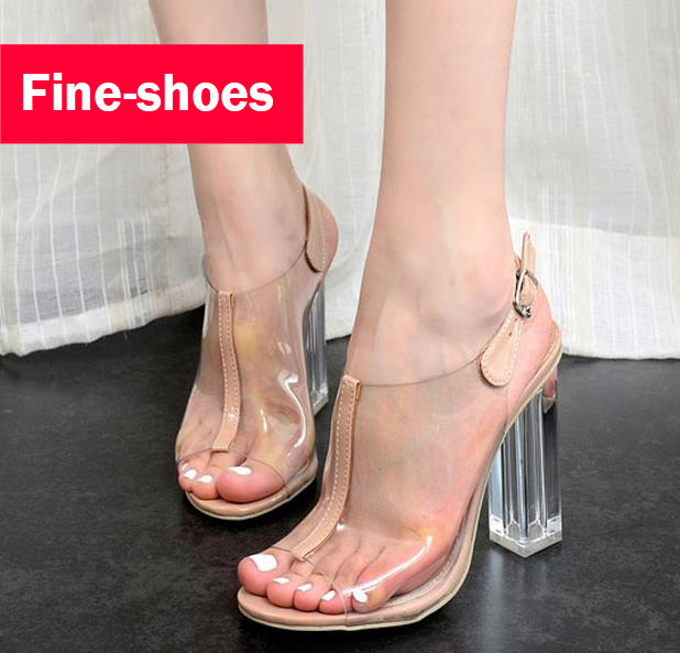 8e8f96cf1a6 Summer Sandals Female High Heels Jelly Shoes Transpar Thick With Heels  Buckle Strap Women Shoes Peep Toe Sexy Sandals 494