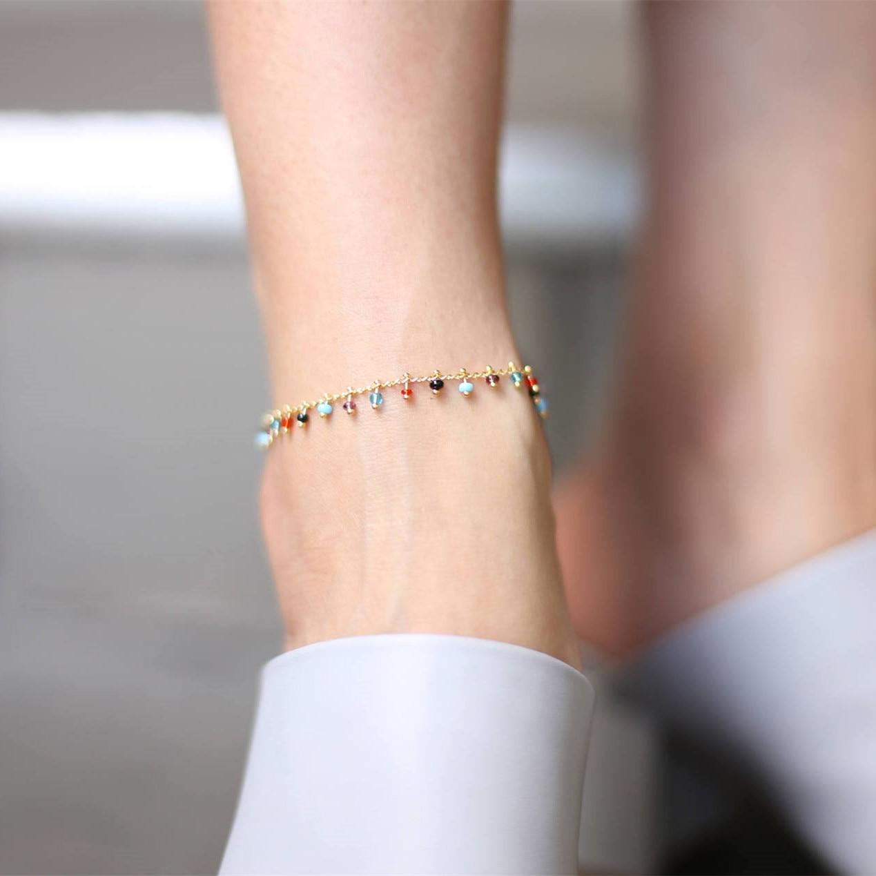 2019 Nuovo Colorato Perline di Cristallo Cavigliera per Le Donne Beach Sexy di Colore Dell'oro Della Catena Del Piede sulla Gamba di Modo Cinturino Alla Caviglia gioielli