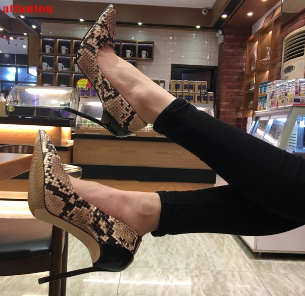 2018 Hot sale fashion brown snakeskin Women High Heels metal thin heel slip-on sexy pumps pointed toe Female Party Dress Shoes