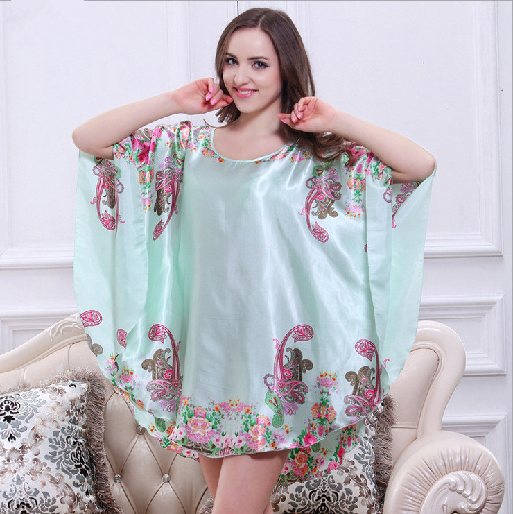 Summer Satin Silk   Nightgown     Sleepshirts   Loose Women Sleepwear Short Sleeve Lounge Bathrobe Nightwear Dresses For Women