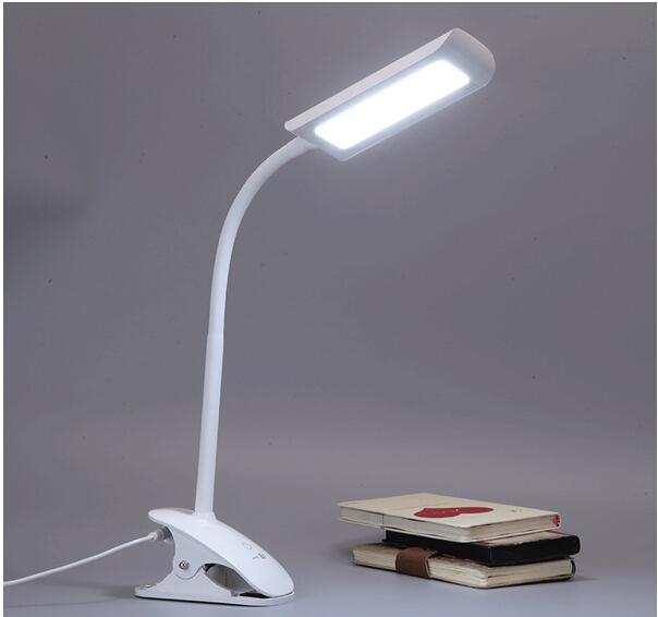 100% calidad Del Ojo protegido clip titular colgando llevó 7 w lámpara del libro ABS flexible oficina mesa de luz de lectura lámpara de estudio AC110-260V1656