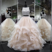 Quinceanera Dresses 2019 Modest Sweet 15 Ball Gown Ruffles Two Pieces Beads Sequins Keyhole Debutante Vestidos De 15 prom dress