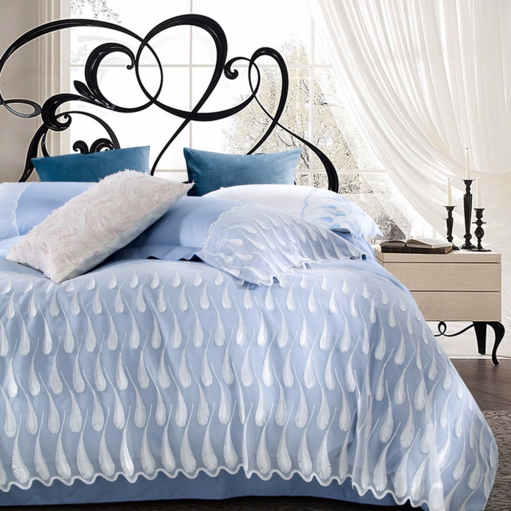 Royal blue and white bedding - Aliexpress Com Buy White Bule Lace Bedding Sets Girls Princess Queen King Size Egypt Cotton Royal Bed Set Duvet Cover Bedsheet Pillowcase Gifts From