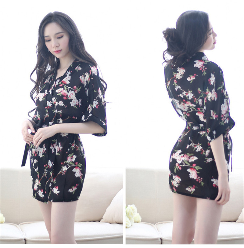 8a66fe8bbe Floral robes Women s Sleep   Lounge hot women sexy intimates lady fashion  Bathrobe kimono uniforms black and -in Robes from Women s Clothing    Accessories ...