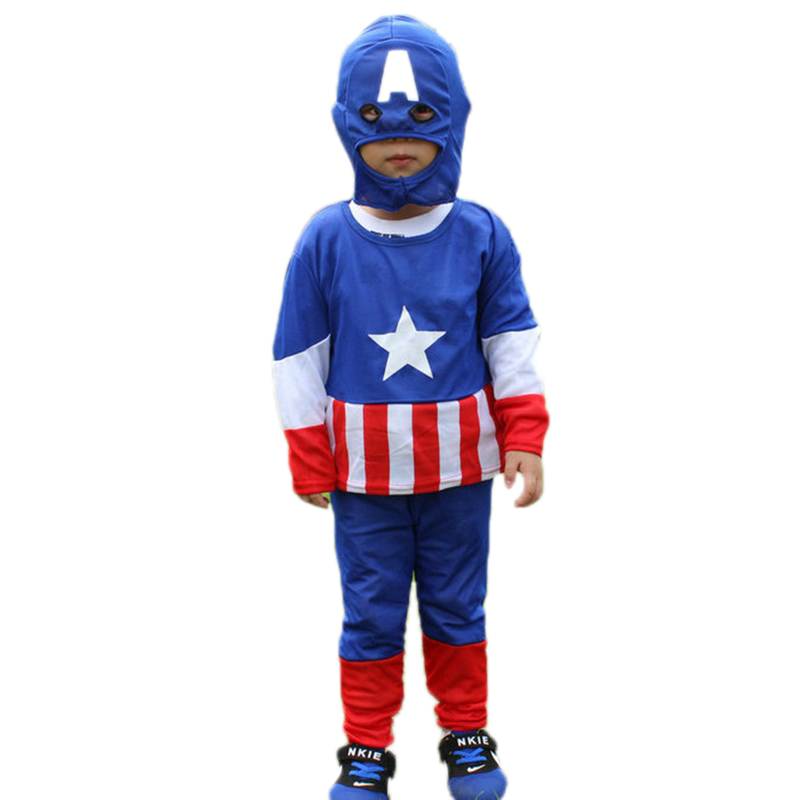 Kids Captain America Cosplay Clothing Set Baby Halloween Party Costume Children Super Hero Stage Performance Clothes