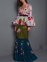 Женское платье с длинным рукавом элегантное v образным вырезом