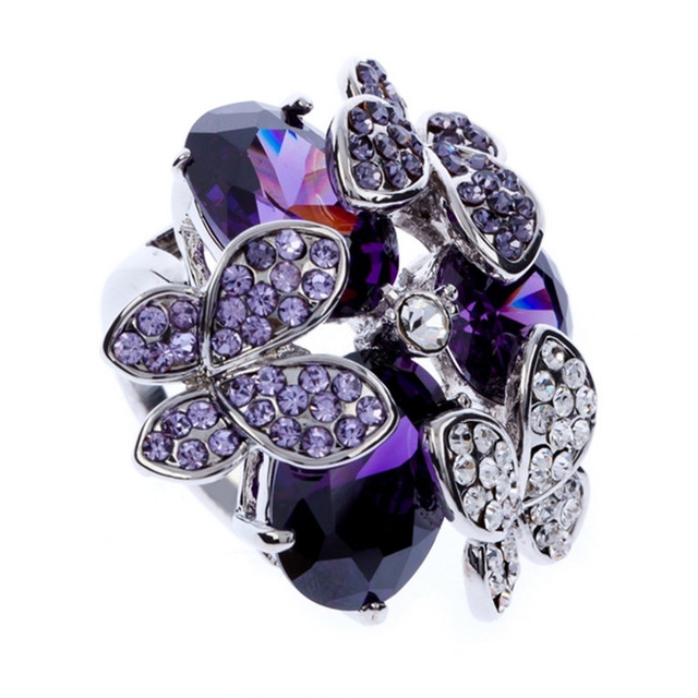 2017 New Cute Styles Fashion Wedding Rings For Women Purple Water Drop Cubic Zirconia Butterfly With
