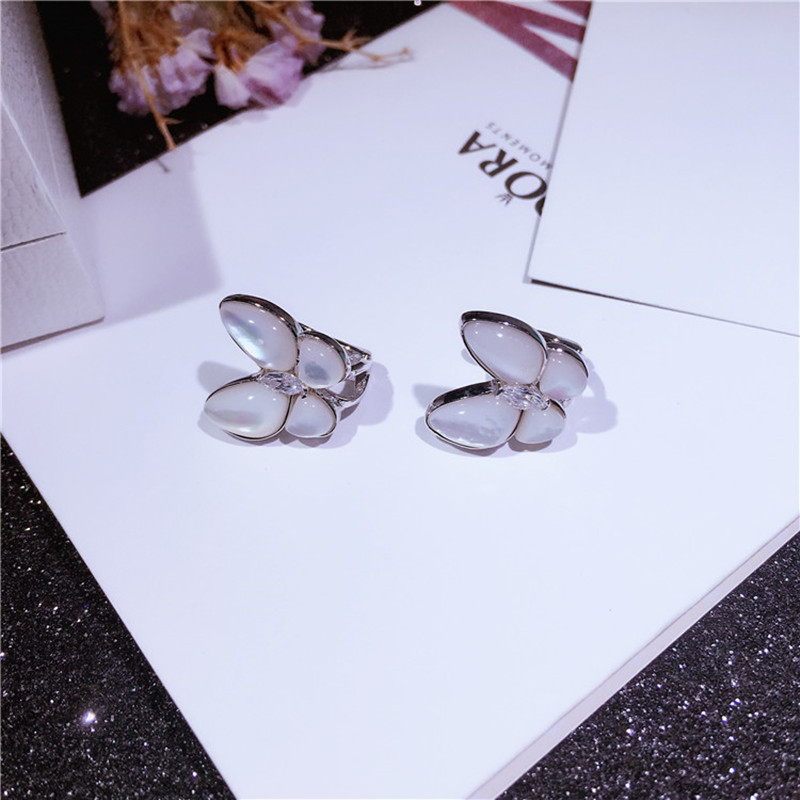 Natural Shell With Zircon Butterfly Earrings Stud Real 925 Sterling Silver Earrings 2 Colors High Quality Women Jewelry Bijoux