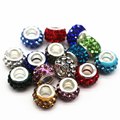 12mm Big Hole Charms Beads With Rhinestone DIY Jewelry Making Beads Fits Pandora Charms Bracelets Necklaces 100Pcs/lot