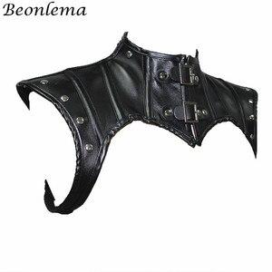 Image 2 - Beonlema Steampunk צוואר מחוך אביזרי שחור גותי צמרות Shapewear צעיף נשים רטרו מחוך סקסי עור מסמרות מחוכי