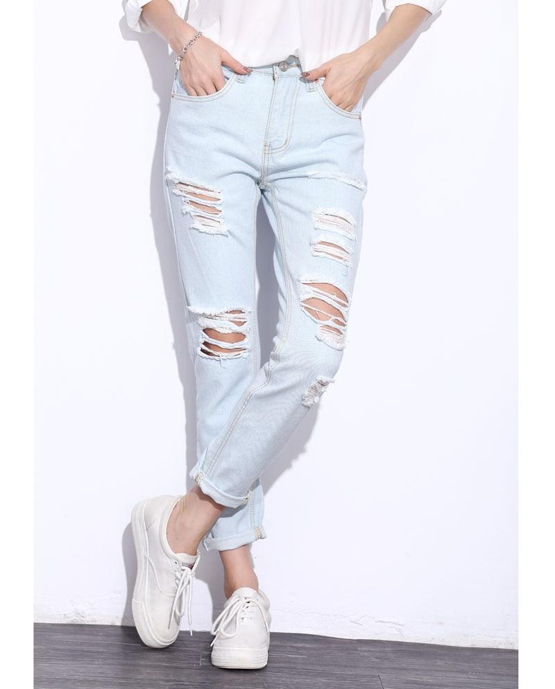 Linsdenim Fashion Jeans Vintage Holes Knee Ripped Jeans