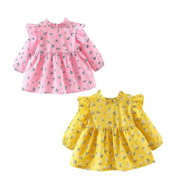 e4b65f85a9e8 Flowers Baby Girls Dress Newborn Spring Girls Clothes Long Sleeve ...