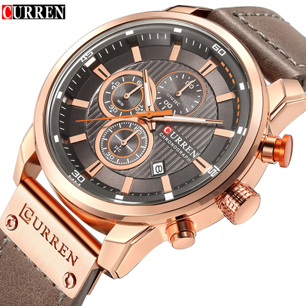 Mens Watches Top Brand Luxury Fashion Casual Waterproof Chronograph Date Genuine Leather Sport Military Male Clock CURREN 8291 curren 2018 fashion military brown genuine leather belt chronograph calendar display mens quartz sport watches top brand luxury