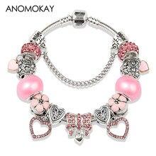 e52780a89302 Europeo y americano romántico corazón Rosa cristal encanto Pandora pulsera  joyería Color plata Diy pulsera de cuentas para mujer.