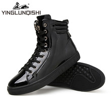 YINGLUNQISHI Winter Men's High Top Shoes Glazed PU Leather Casual Lace- Up Ankle Boots Shoes sapatos de homem Black Sliver