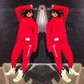 Mujer Chándal Con capucha de Manga Larga Sudaderas Deportivas de Invierno Trajes de Las Mujeres Carta Imprimir Pantalones