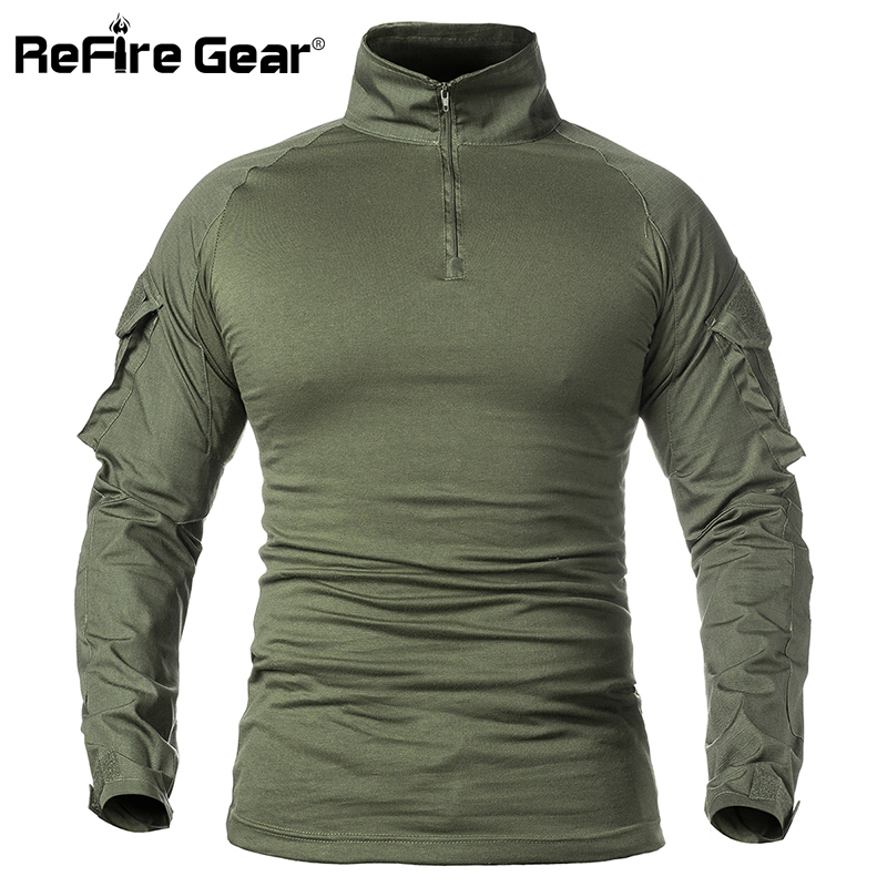 Refire Gear Us Army Military Uniform Combat Shirt Men Assault Tactical Camouflage T Shirt Airsoft Paintball Long Sleeve Shirts Work Wear & Uniforms Military