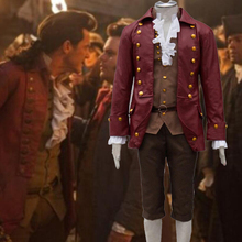 2019 Movie Beauty and The Beast Gaston Cosplay Costume Burgundy Jacket Coat Men Outfit Pants Suit Halloween Carnival Costumes