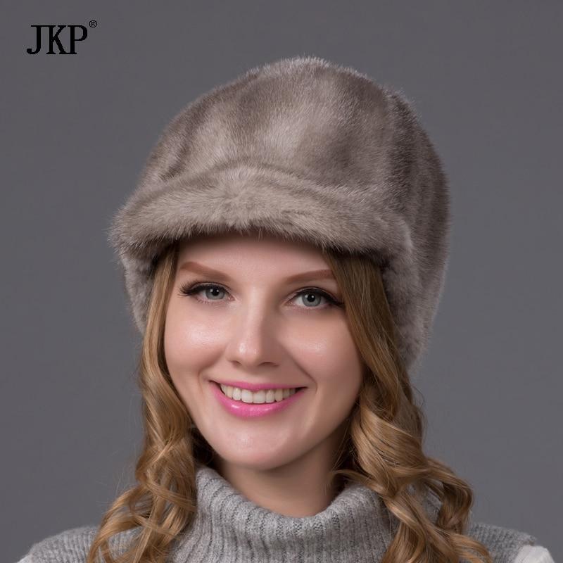 100% Իրական ամբողջ մորթուց Mink Fur Caps Visors - Հագուստի պարագաներ - Լուսանկար 5