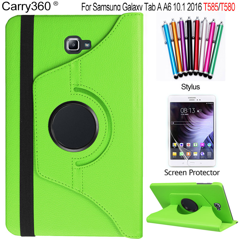 Carry360 For Samsung Galaxy Tab A 10.1 2016 Case T580 T585 360 Degree Rotating PU Leather Stand Cover + Screen Protector +stylus ultra thin smart flip pu leather cover for lenovo tab 2 a10 30 70f x30f x30m 10 1 tablet case screen protector stylus pen