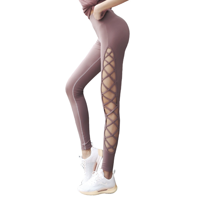 Côté femmes Évider Croisé À Lanières Yoga Leggings Taille Haute Hanches Gym Sport Leggins Sans Couture Pantalons De Danse INS