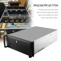 Open Air Mining Frame Rig Graphics Case GPU ATX Fit 6/8 Graphics Card Ethereum ETH ETC ZEC XMR 10 Fans With Lock Promotion