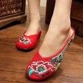 Новые Китайские Вышитые Тапочки Гибискус Холст Белье Вышивка Дамы Случайные Женская Обувь