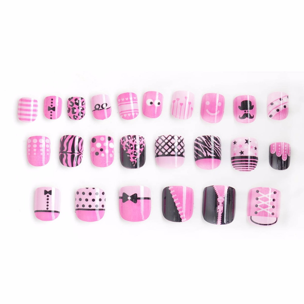 Hot Ladies Sexy Clothing Fake Nails 24 Pcs Pink Pattern Pre-glue Press on Fake Nail Tips for Little Girls Kits