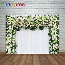 Funnytree Flores e folhas tropicais verde Quadrado arco cortinas brancas de fundo para o casamento decoração photocall photo booth