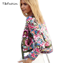 New Women Spring Jackets Short Tops 2017 Long Sleeve Floral Print Coat Vintage Women Clothing Bomber Jacket Chaquetas Mujer