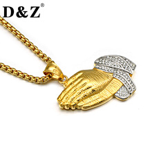 D&Z Hiphop Gold Color Christian Prayer Hands Necklace Stainless Steel Paving CZ Hands Pendants Necklaces Jewelry