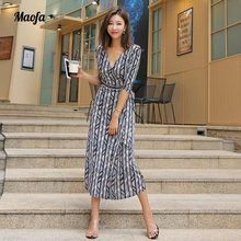 casual striped Printed Boho Dress Women 2018 New half Sleeve Split Sundress Dresses Female Casual Beach Summer Vestidos