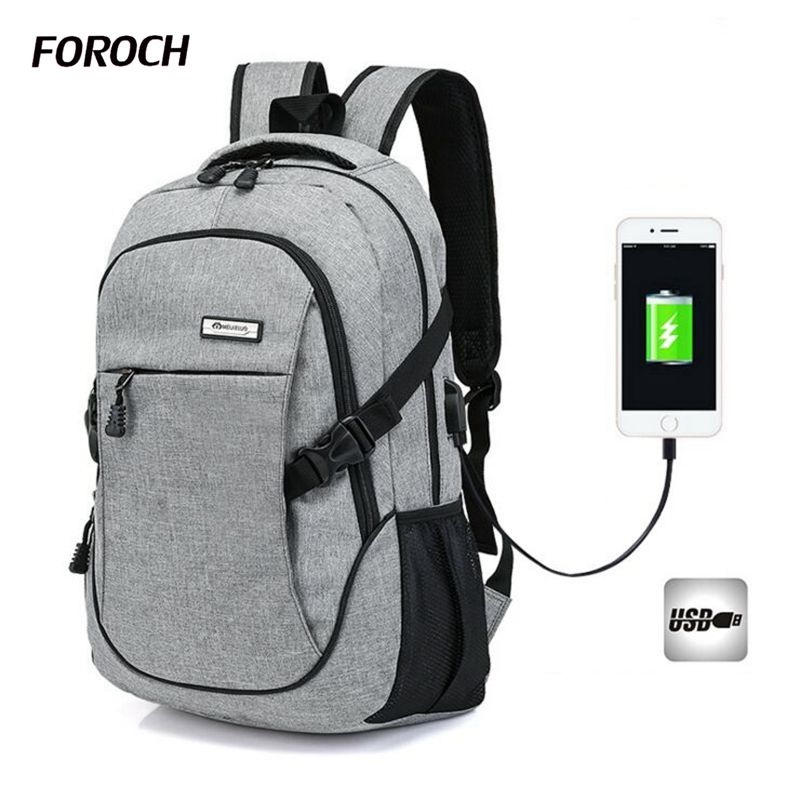 FOROCH Canvas Women&Men Backpack Bag 17 Inch Laptop Notebook USB backpack Mochila Waterproof Back Pack school backpack bag 400 men s backpack business travel bag 15 inch laptop notebook mochila for men women waterproof back pack school backpack bag