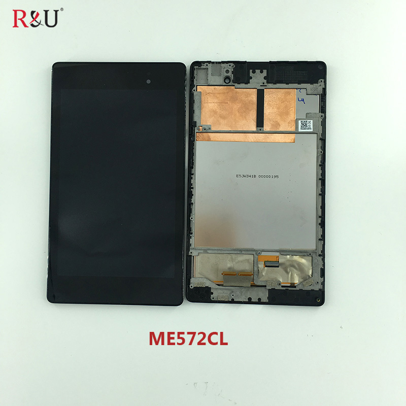 LCD Display Monitor Touch Screen Panel Digitizer Assembly + Frame For ASUS Google Nexus 7 2nd ME572 ME572CL Gen 2013 original 7 inch for nexus 7 2nd gen 2013 lcd display touch screen digitizer assembly for asus google nexus 7 2nd free shipping