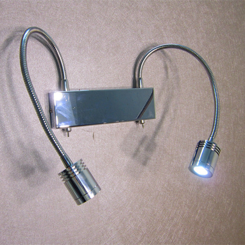 Hard wired Bedside Lights-LED Dual 3Watt LED Flexible Spots Working Independently Connect only 1xCable out from Wall