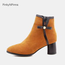 womens 2019 fashion ankle boots retro vintage Italian style short plush round heels comfortable winter casual ladies booties
