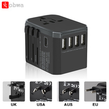 лучшая цена KOBWA Travel Adapter International Universal Power Adapter All-in-one with 5.6A 4 USB Worldwide Wall Charger for UK/EU/AU/US