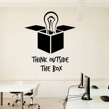 Idea Office Wall Decal Quotes Light Bulb Outside The Box Vinyl Sticker Inspirational Murals Poster DIY LZ13