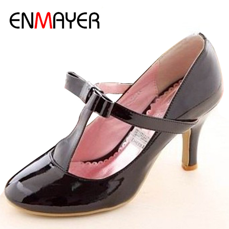 ENMAYER Big Size Casual Patent Leather Mid Heel T Strap High Heel Shoes Women s Pumps