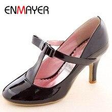 Купить с кэшбэком ENMAYER 2014 Big size casual patent leather mid heel T-Strap high heel shoes women's pumps 3 colors wholesale black