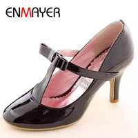 ENMAYER Big Size Casual Patent Leather Mid Heel T-Strap High Heel Shoes Women's Pumps 3 Colors Wholesale Black