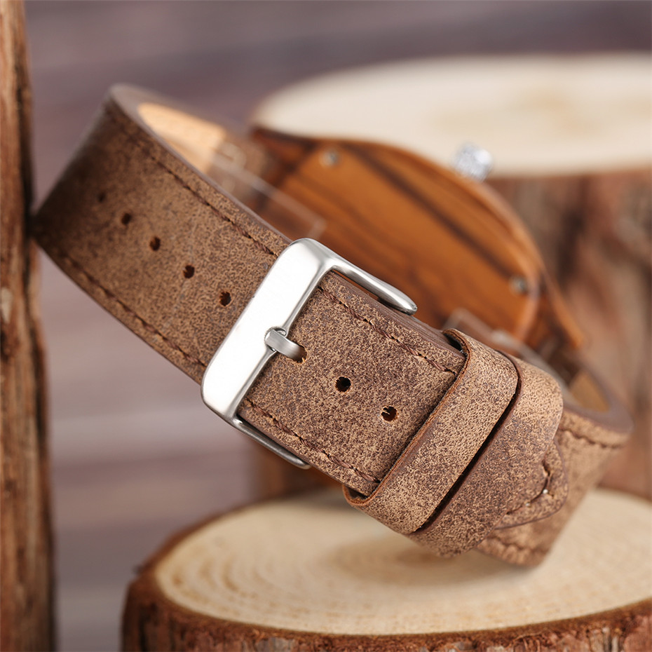 YISUYA Bamboo Wooden Watch Men Quartz Leather Band Analog Creative Watches Roman Numerals Dial Unqiue Shape Fashion Clock Gift (34)