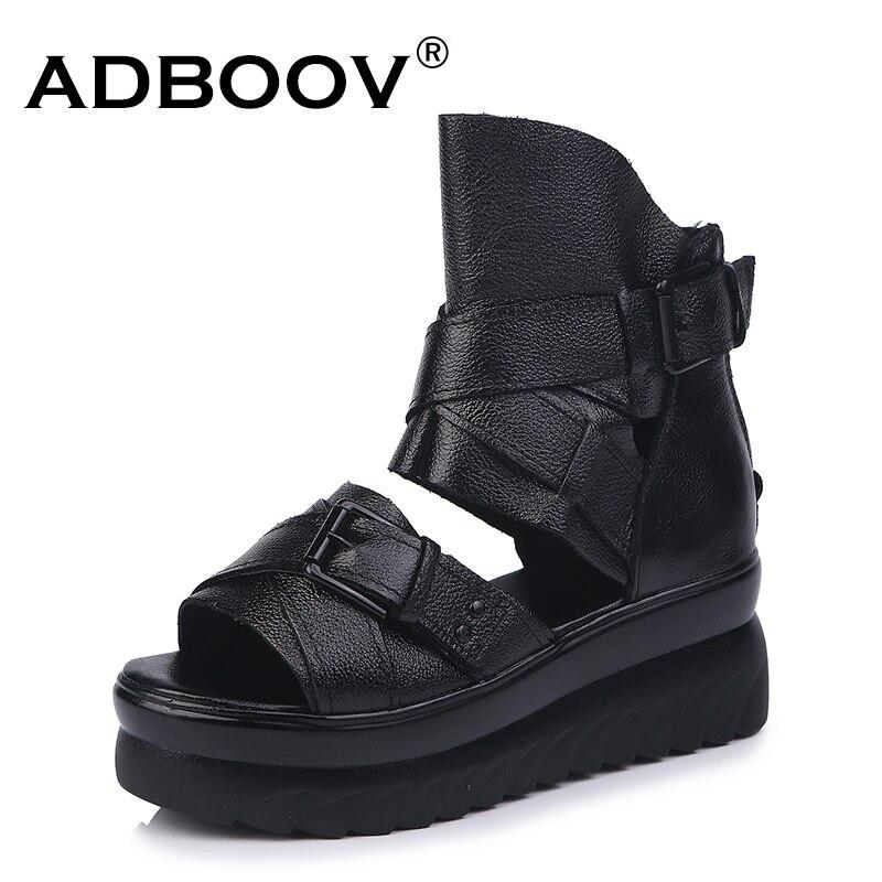 ADBOOV Echtem Leder Plattform Sandalen Frauen Sommer Keile Schuhe Für Frauen Alias De Verano Para Mujer Größe 35-43